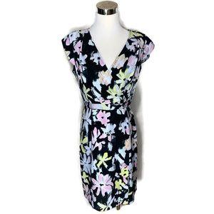 Andrew Marc Dress Black Floral Short Sleeve Size 6